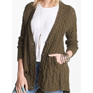 Free People Cardigan Sweater Olive Green Small